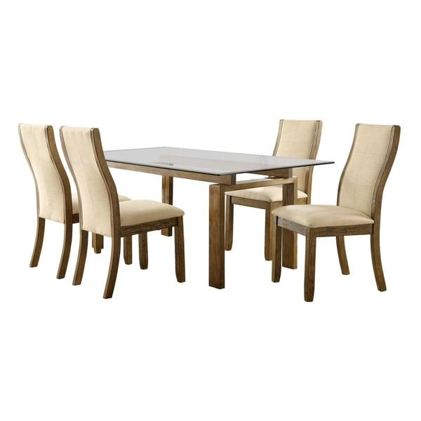Furniture of America Posh Contemporary Oak 5-piece Dining Set