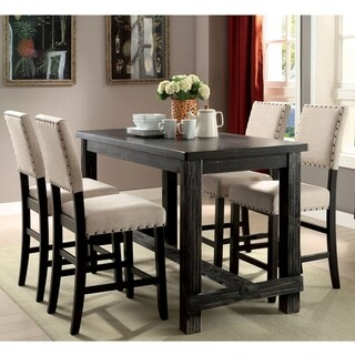 Furniture of America Morz Rustic Black 5-piece Counter Table Set