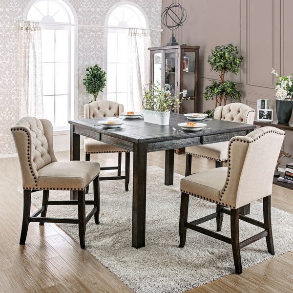 Furniture of America Morz Rustic Ivory 5-piece Counter Dining Set