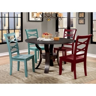 Furniture of America Russell Transitional 5-Piece Blue/ Red Chair Round Dining Table Set