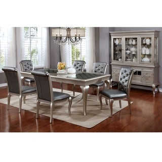 Furniture of America Valencia 7-Piece Champagne Gold Dining Table with Leaf Set