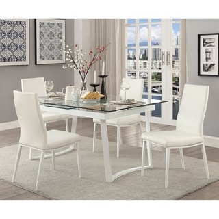 Bruton Contemporary White 5-piece Dining Table Set by FOA