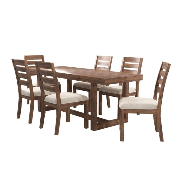 Furniture of America Dell Country Beige 7-piece Dining Table Set