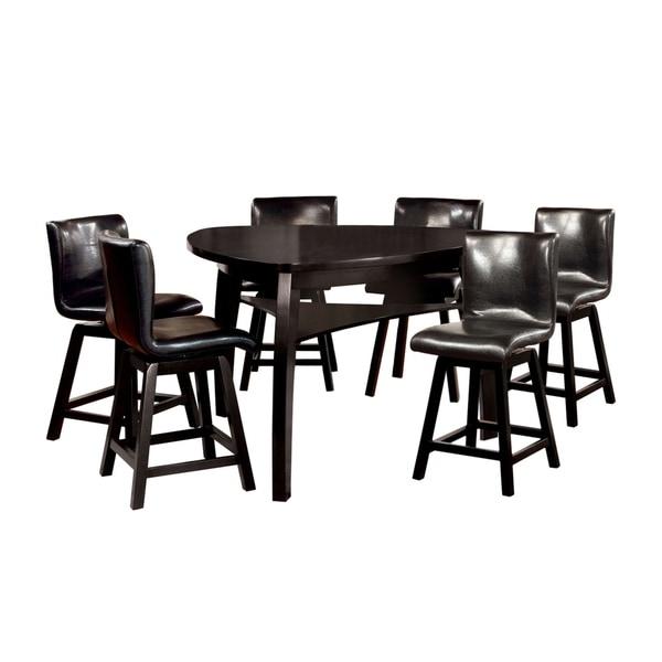 Furniture of America Nack Modern Black 7-piece Counter Table Set