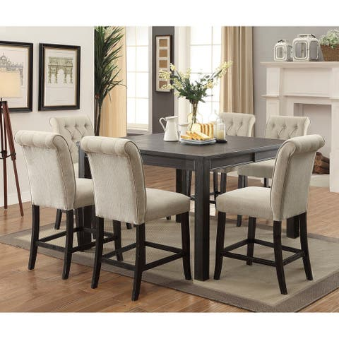 Furniture of America Morz Rustic Black 7-piece Counter Table Set