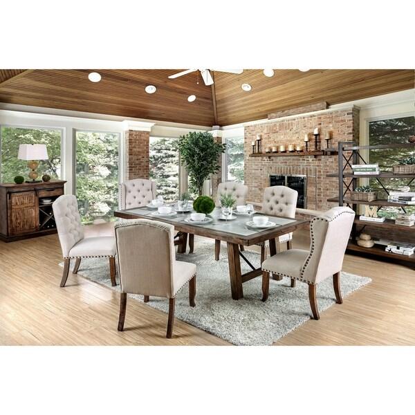 Furniture of America Finti Rustic 7-Piece Dining Table Set