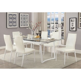 Bruton Contemporary White 7-piece Dining Table Set by FOA