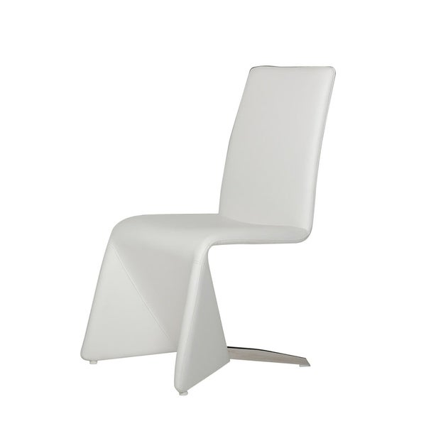 HomeRoots Furniture Contemporary White Upholstered Leatherette Dining Chair - Set of 2