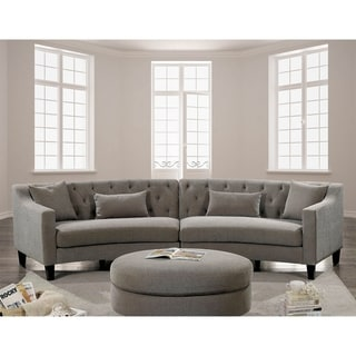 Furniture of America Lindsey Linen Sectional with Ottoman