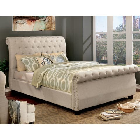 Furniture of America Britton Tufted Nailhead Trim Sleigh Bed