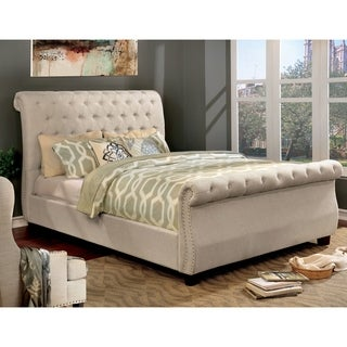 Furniture of America Britton Tufted Nailhead Trim Sleigh Bed