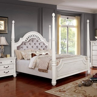 Gracewood Hollow Taronatsi Antique White 4-post Bed