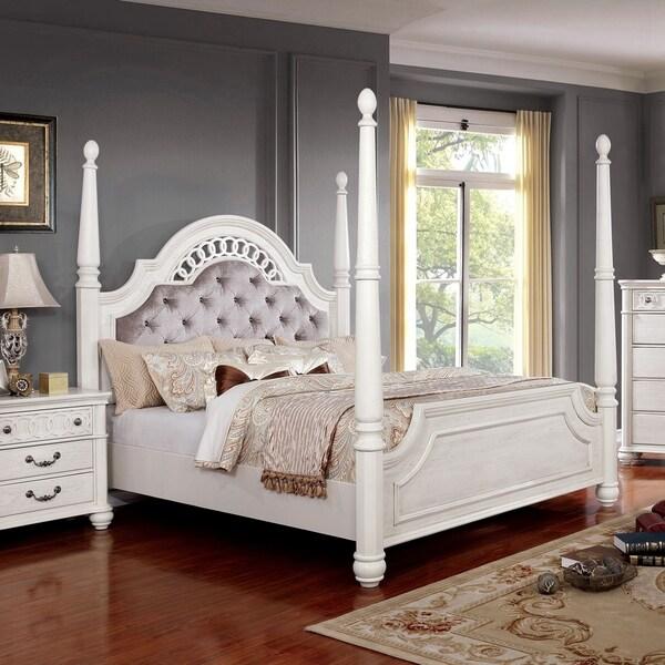 Shop Furniture Of America Tamara Antique White Four Poster
