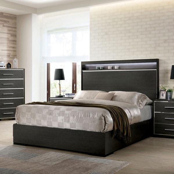 Copper Grove Kastela Warm Grey Bed with LED Shelf Headboard