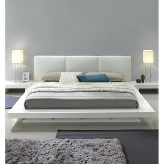 Carbon Loft Ballingham Gloss White Low Profile Upholstered Bed