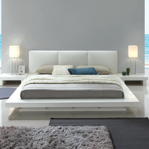 Phoenix Modern White Low Profile Upholstered Headboard Bed By Foa