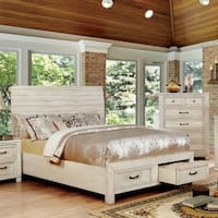 Gordon Rustic Antique White Bed with Drawers by FOA