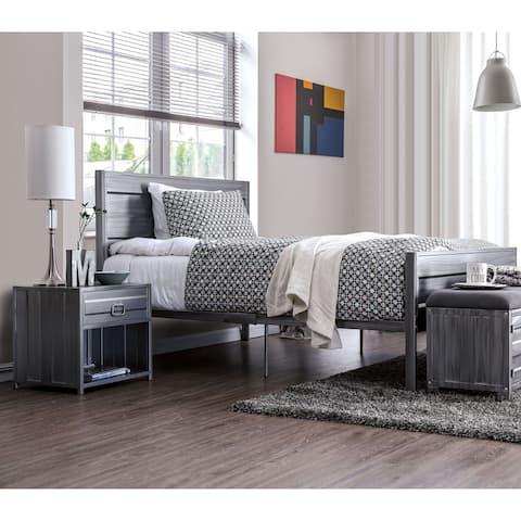 Furniture of America Woolf Queen Silver 2-piece Platform Bed Set
