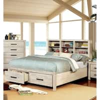 Vedaut Rustic Bookcase USB Headboard Bed by FOA