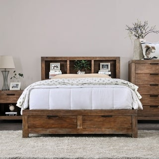 Furniture of America Werr Rustic Oak Solid Wood Bookcase Bed with Usb