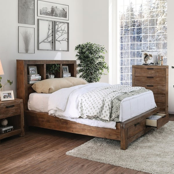 shop furniture of america delton rustic bookcase headboard bed with rh overstock com