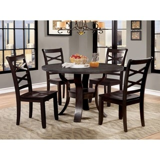 Furniture of America Russell Transitional 5-Piece Espresso Round Dining Table Set