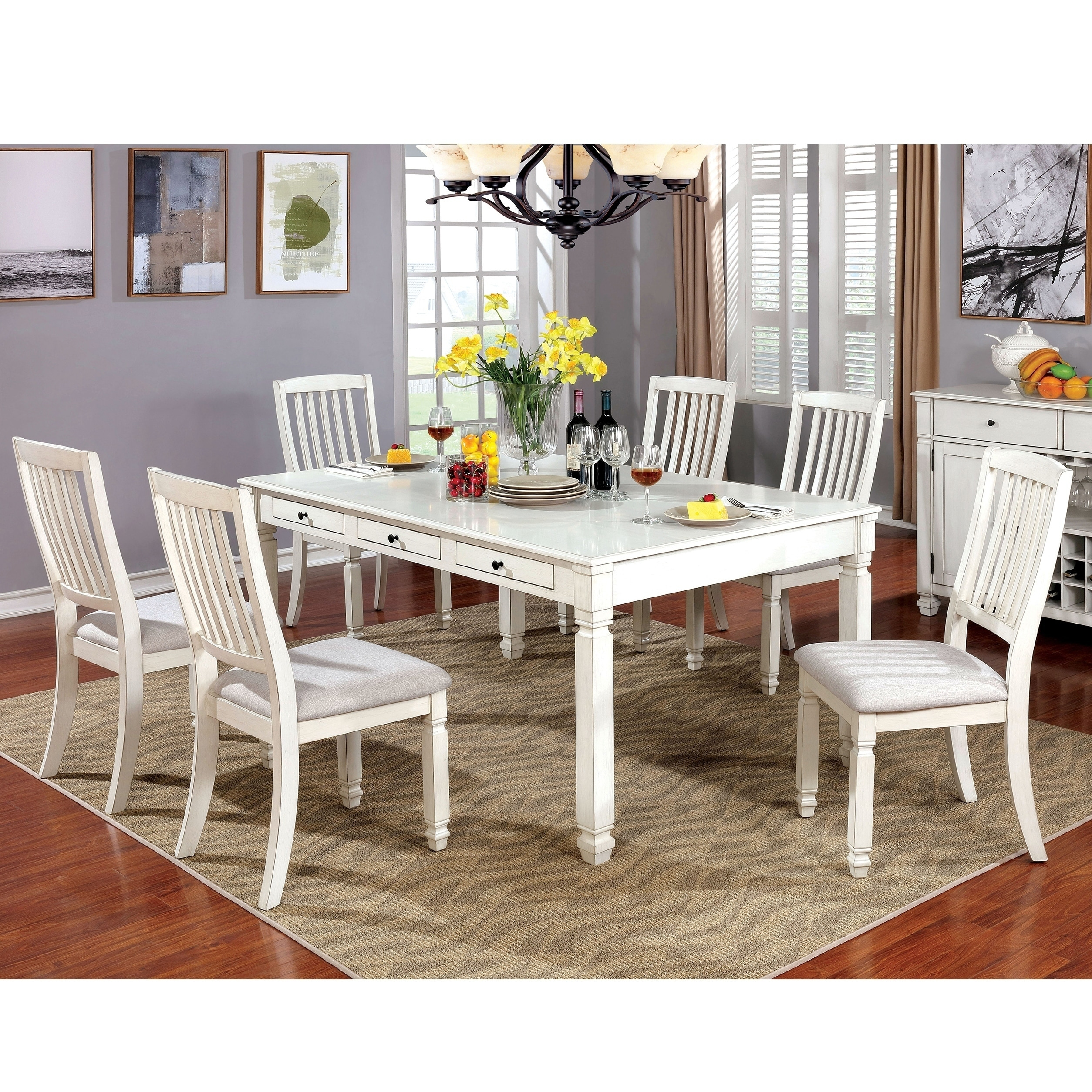 Shop Furniture Of America Lese Transitional White 7 Piece Dining