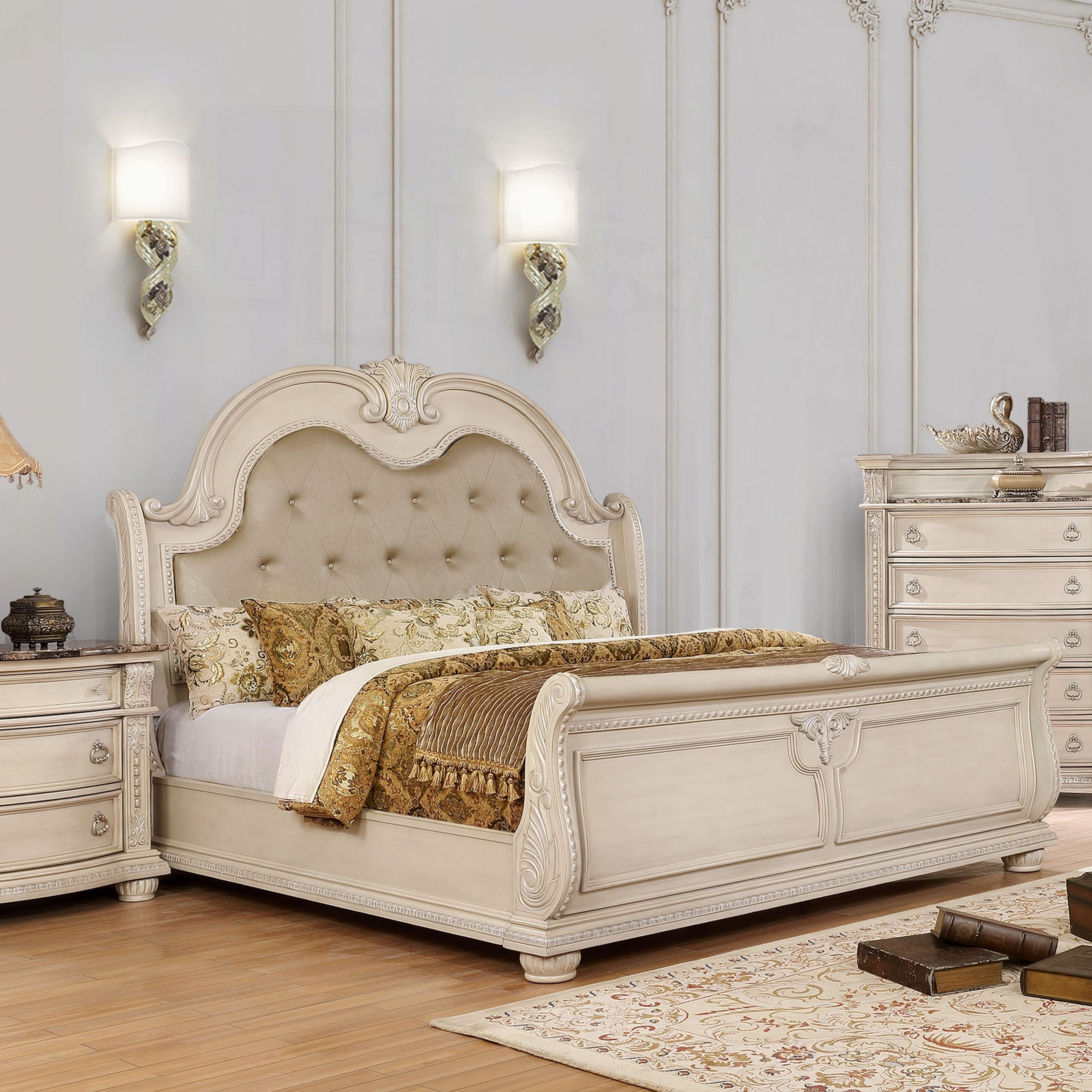 Shop Black Friday Deals On Furniture Of America Boss Traditional White Faux Leather Panel Bed On Sale Overstock 25324517