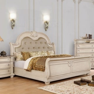 Furniture of America Boss Traditional White Leatherette Tufted Bed