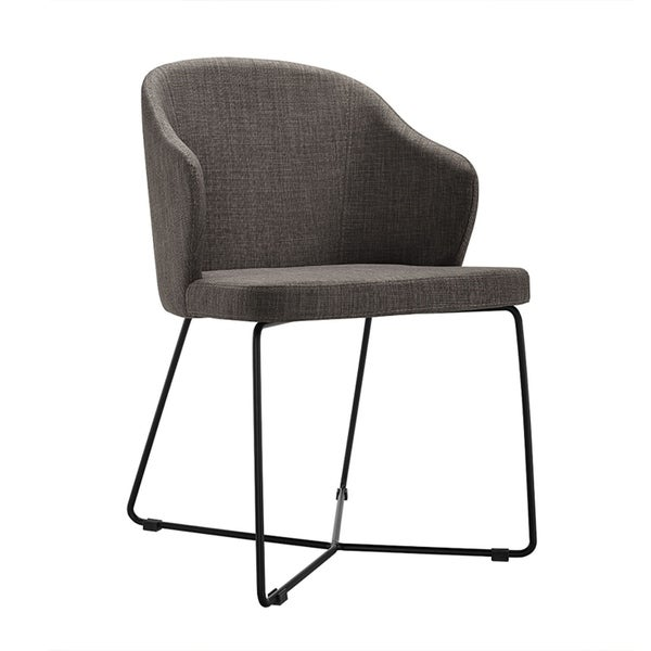 HomeRoots Furniture Modern Grey Upholstered Fabric Dining Chair with Black Metal Legs - Set of 2