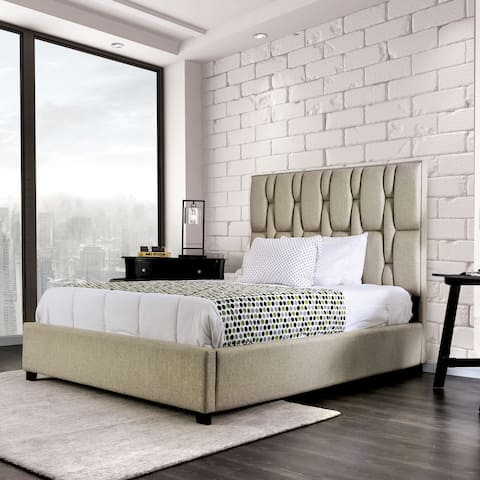 Furniture of America Triton Modern Beige Fabric Tufted Panel Bed
