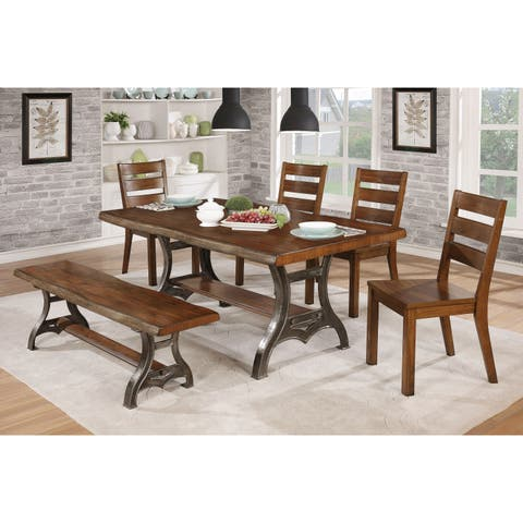 The Gray Barn Lowbridge 6-Piece Dining Table Set with Bench