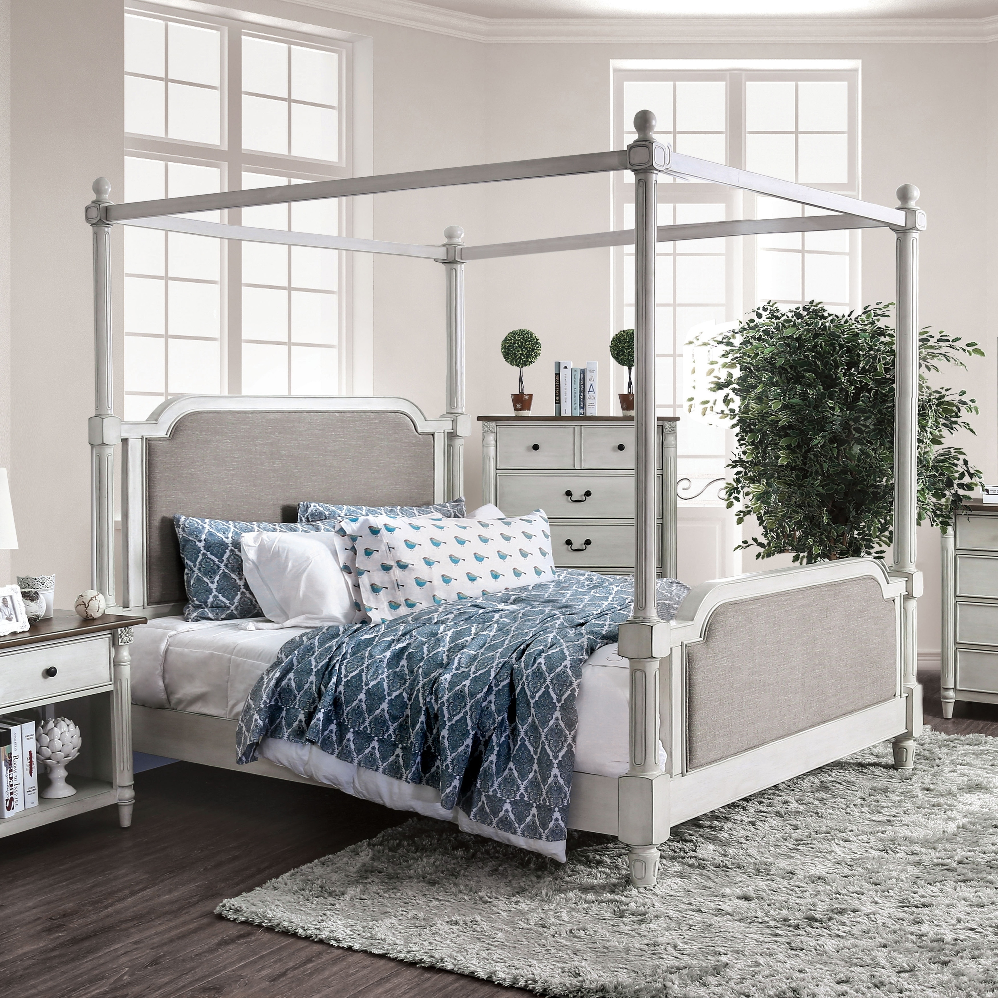 Shop Furniture Of America Morn Traditional White Fabric Padded Canopy Bed Overstock 25324626 Queen