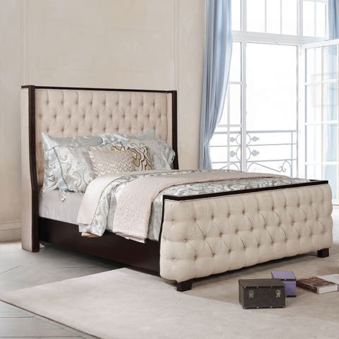 Parker Transitional Beige Button Tufted Full Bed by FOA