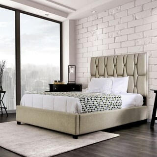 Furniture of America Triton Tufted Upholstered Tall Headboard Platform Bed