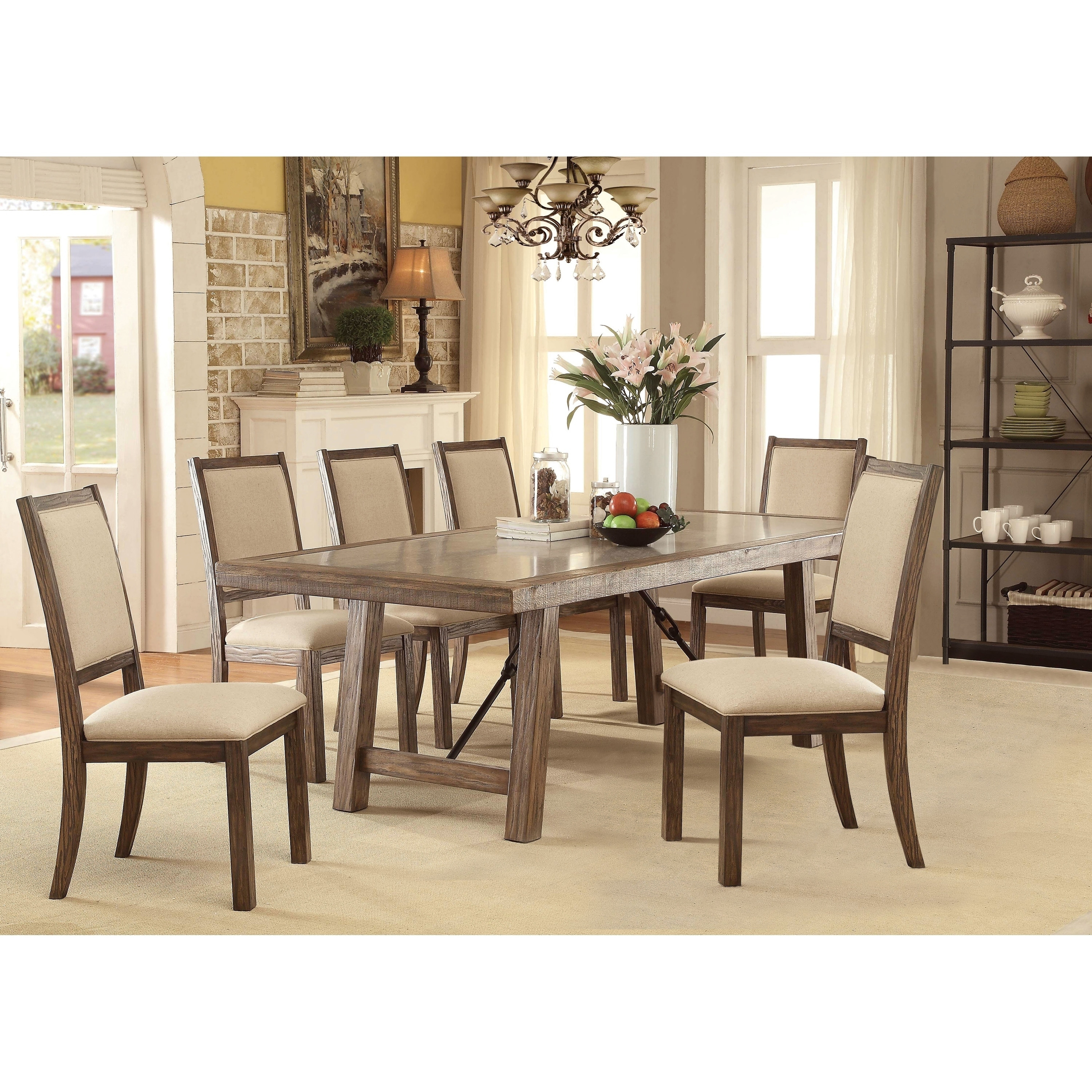 Furniture Of America Fitzgerald 7 Piece Transitional Dining Table Set