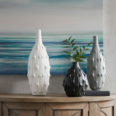 Madison Park Dune White/ Gray/ Black Textured Vase (Set of 3)