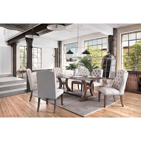 Furniture of America Canley Rustic Pine 7-piece Dining Table Set