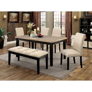 Furniture of America Michter 6-Piece Dining Table Set with Bench