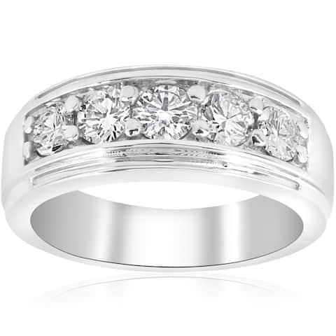 Pompeii3 Platinum 1 ct TDW Mens Diamond Wedding Ring Band