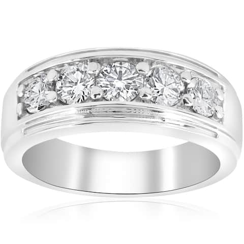 Pompeii3 Platinum Men's 1ct TDW Diamond Wedding Band