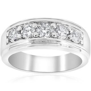 Bliss Platinum 1 ct TDW Mens Diamond Wedding Ring Band