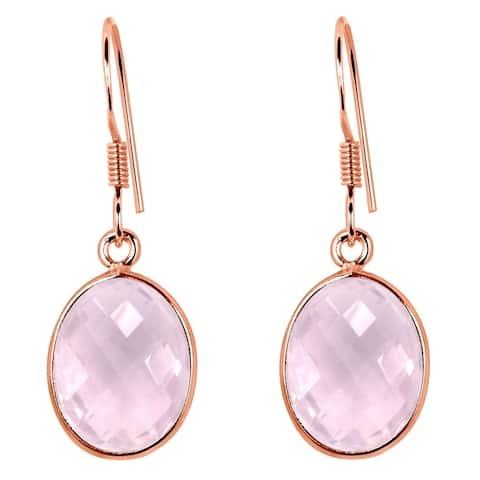 Rose Quartz Sterling Silver Oval Dangle Earrings By Essence Jewelry