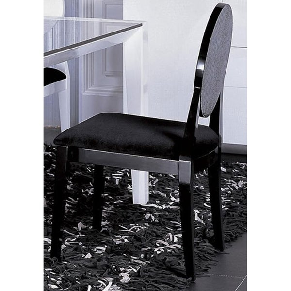 HomeRoots Furniture Modern Black Crocodile Texture Velour Fabric Dining Chair - Set of 2