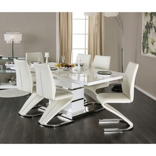 Furniture of America Vorr Contemporary White 7-piece Dining Table Set