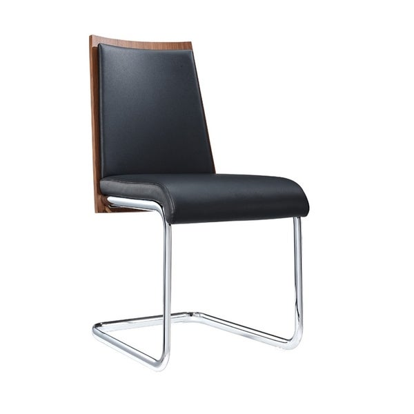 HomeRoots Furniture Modern Black Leatherette Dining Chair with Walnut Veneer Back - Set of 2