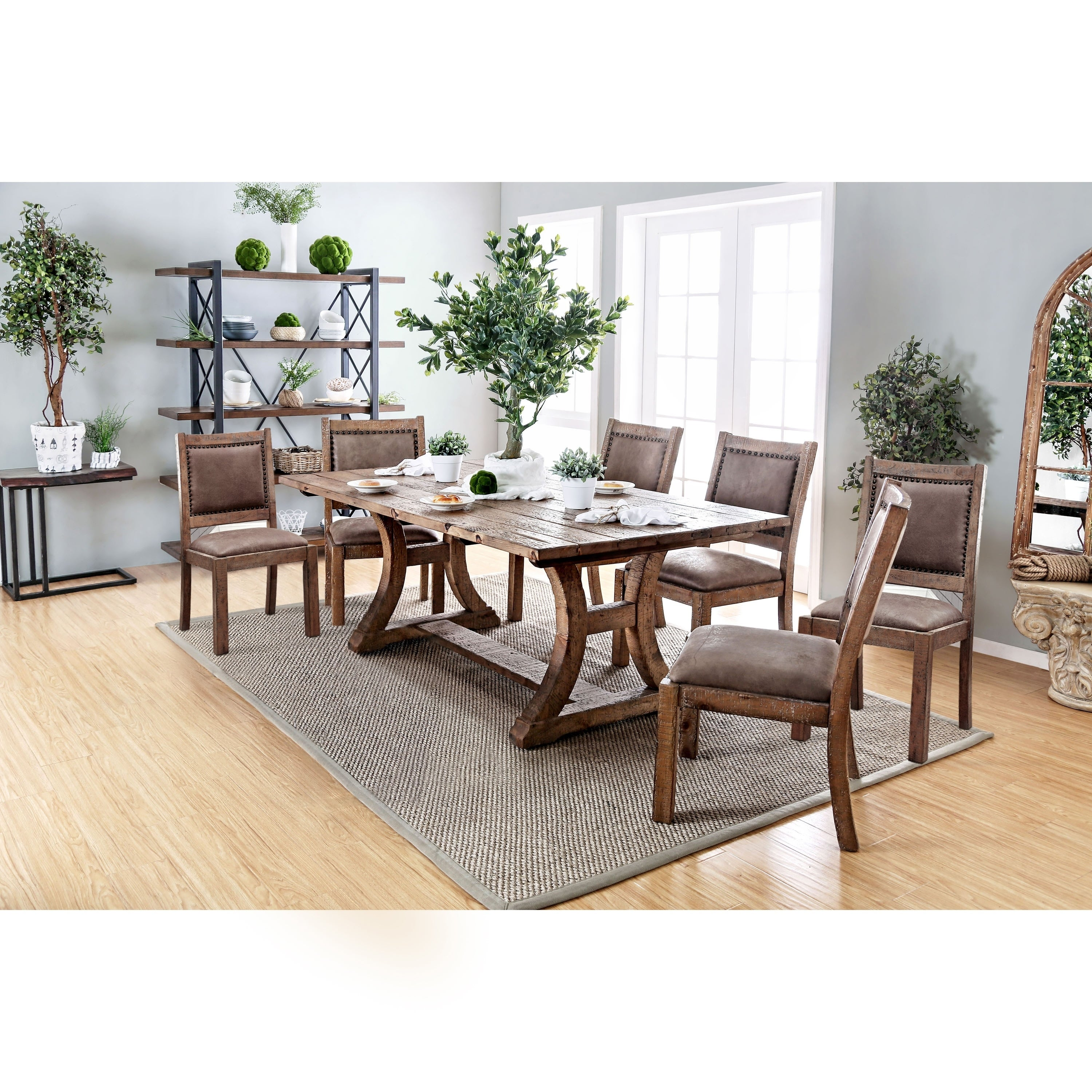 Quint Rustic Pine 7 Piece Dining Table