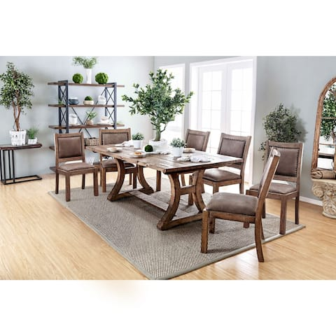 Furniture of America Quint Rustic Pine 7-piece Dining Table Set