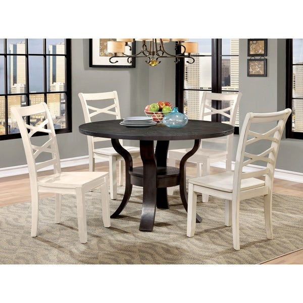 Furniture of America Russell Transitional 5-Piece White Chair Round Dining Table Set