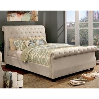Furniture of America Kain Contemporary Beige Fabric Tufted Sleigh Bed